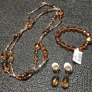 Brown Crystal Necklace Bracelet CLIP ON Earrings